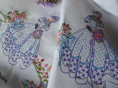 Vintage Hand Embroidered Tablecloth/ Exqusite Crinoline Ladies- Exhibition Piece