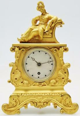 Tremendous Empire French 8 Day Timepiece Solid Bronze Ormolu Mantel Clock C1830