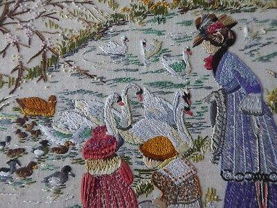 Vintage Hand Embroidered Picture Panel - Children Feeding Swans-Country Scene