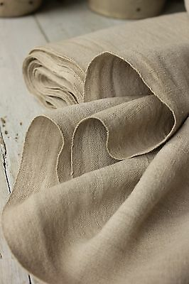 Antique homespun linen Flax fabric material 10YDS by 25 WASHED WIDE GREY GRAY