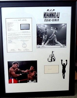 Muhammad Ali-(Cassius Clay) Framed Tribute>Autograph-Full Loa-Jsa Authenticated.
