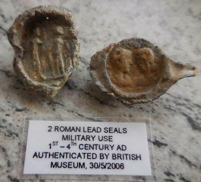 Rare 2 Roman Lead Seals With Soldiers/portraits 1St-4Thc Ad Museum Authenticated