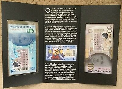 Bank Of Scotland New Polymer £5 & £10 Banknotes Matched Pair Of Numbers