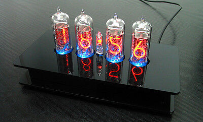 Nixie Tubes Clock with 4 pieces IN-14 tubes with RGB backlight Alarm and Chimes