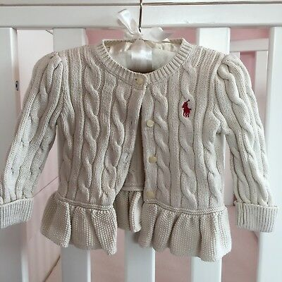 Ralph Lauren Baby Girl Cream Cardigan.  6 Months.