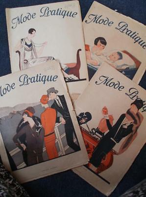 Lot of 4 French sewing clothes vintage 1920s flapper fashion magazines