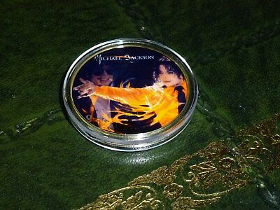 Michael Jackson Gold Plated And Colour Coin In Acrylic Case. Brand New No. 7