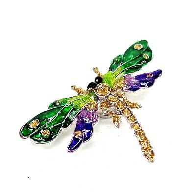 Dragonfly Magnet 3D Refrigerator Decoration Enamel Painted Metal Purple Green