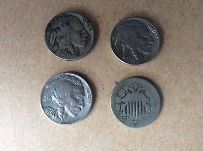 united states 5 cent coins x4