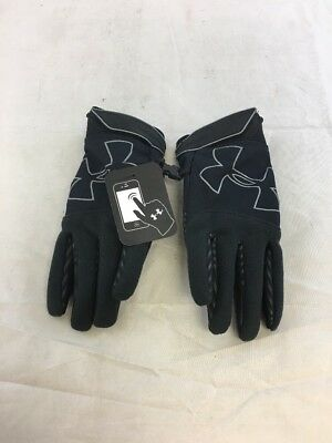 NWT Under Armour Gloves Youth ColdGear Infrared Storm Black Sz: L (BL)
