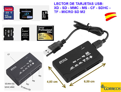Mini Lector de Tarjetas de Memoria USB Color Negro Compact Flash (CF)