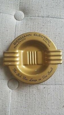 "Vintage Biermann Electric Farley, Iowa Ashtray ""No Job Too Large or Too Small"""