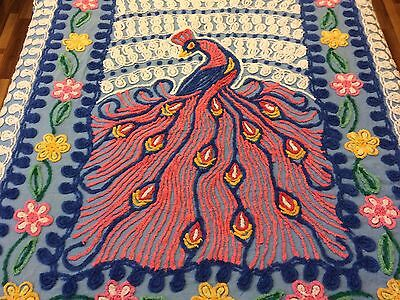 Vintage Chenille Peacock Bedspread Queen Single Peacock Plush 50s Beautiful
