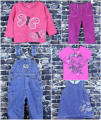 Please Mum Girls Outfits Size 12-18M Denim Dress Overalls I Love Mom Butterfly