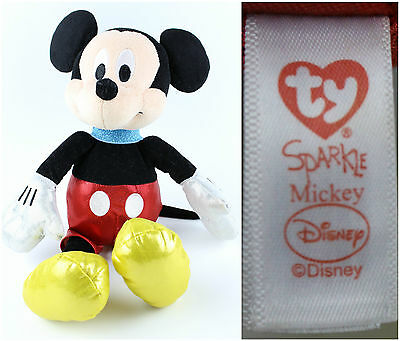 Disney TY Sparkle Mickey Mouse Stuffed Bean Bag Plush Animal Beanie Baby