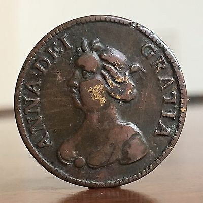 Queen Anne, Brass Sixpence Style Token Or Counter, 1711. Scarce High Grade.