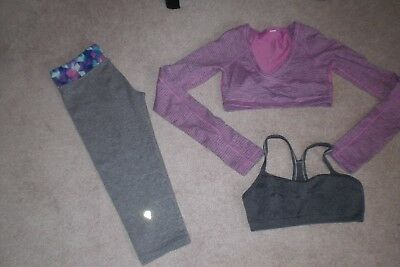 Lot of Girls Ivivva by Lululemon Crops, Dance Top and Bra sz 10