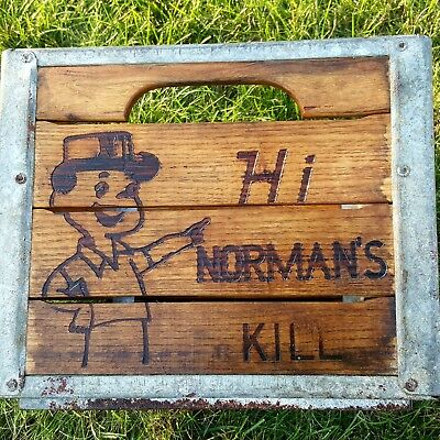 1966 Vintage Normans Kill Wooden Milk Crate, Albany New York Home Decor