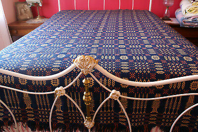 Antique Jacquard Civil War Period Double Sided Bedspread