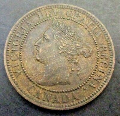 "1896 ""Far 6"" Canada Victoria Large Cent Higher Grade, Very Nice Coin"