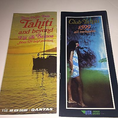 Lot of 2 Vintage Air New Zealand AIRLINE BROCHURE  Tahiti