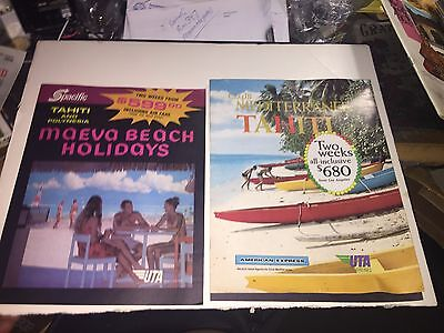 Lot of 2 Vintage French  AIRLINE BROCHURE  Tahiti  Travel