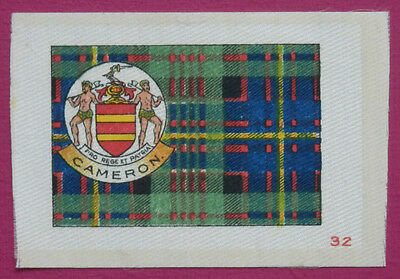 CAMERON Clan Tartan and Coat of Arms SILK card issued in 1922