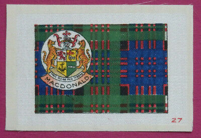 MACDONALD Clan Tartan and Coat of Arms SILK card issued in 1922