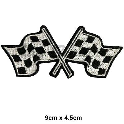 CHEQUERED FLAGS - Embroidered Iron-On Patch, Racing formula FINISH FLAG