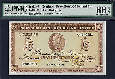 Northern Ireland 5 Pounds 1954 Pick-242 GEM UNC PMG 66 EPQ FINEST KNOWN