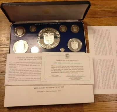 1982 coinage of panama silver proof set OGP / COA Franklin Mint Thank you letter