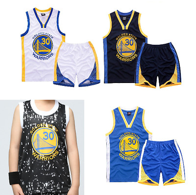 Kids Boys Youth Steph Stephen Curry 30 Basketball Jersey W/ Short Set Xs-2Xl