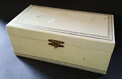 White leather & wood vintage Art Deco antique jewellery box