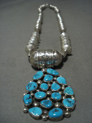 Museum Vintage Navajo 'huge Hand Hammered Beads' Turquoise Silver Necklace