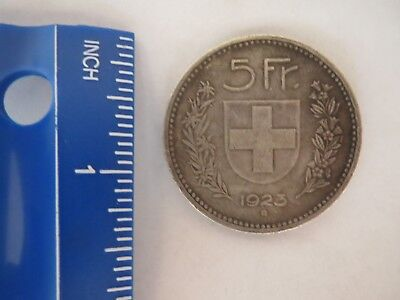 Switzerland Swiss 5 Francs 1923  Silver Rare Coin