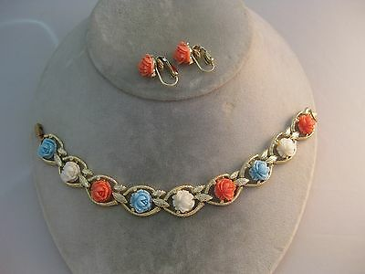 Estate Costume Coral White and Blue Flower Gold Tone Bracelet and Earring Set