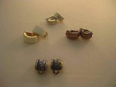 Estate Costume 4 Piece Lot J Hoop Earrings Clip Enamel 2 Tone Nice Assortment