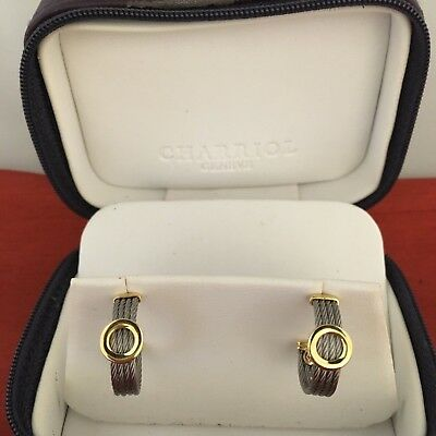 Authentic Estate  Philippe Charriol 18K Gold & Steel Cable Hoop Earrings