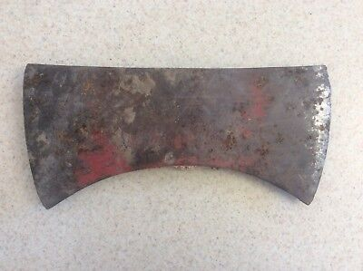Vintage Antique Double Bit Axe Head Used Old Tool Wood Logging Unmarked Red