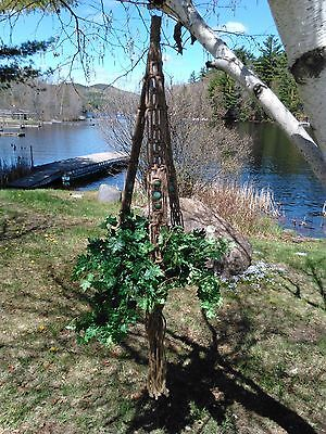 Northern Lights Macrame Plant Hanger With Evergreen Beads (60 inches)