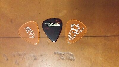 ZZ Top Billy Gibbons set of 3 different guitar picks Rev Willy