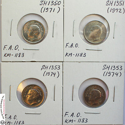 IRAN 1943-1977 GROUP OF 8 BETTER COINS. 4x50 DINARS AND 4x1 RIAL.