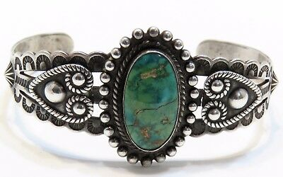 Old Fred Harvey Era Sterling Silver Green  Turquoise Thunderbird Cuff Bracelet