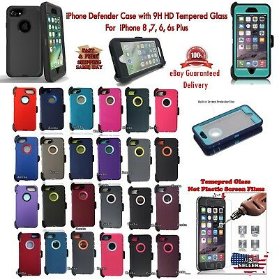 for iPone 8 7 6 6s & Plus Defender Case + Tampered Glass (Clip Fits otterbox)