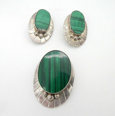 Vintage Signed Mexican Sterling Silver & Malachite Earrings and Pin/Brooch Set