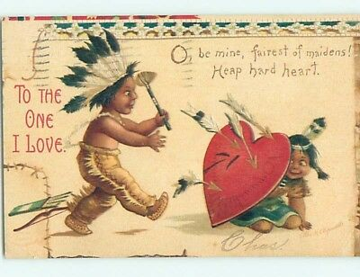 Pre-Linen valentine sign CLAPSADDLE - NATIVE INDIAN BOY SHOOTS AT GIRL HL1406