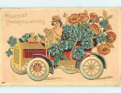 Pre-Linen CHERUB DRIVES OLD AUTOMOBILE CAR FULL OF FORGET-ME-NOT FLOWERS HL5697