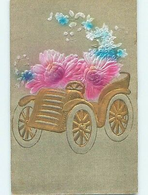 Pre-Linen foreign fantasy LARGE FLOWERS IN VERY EARLY AUTOMOBILE CAR HL7704