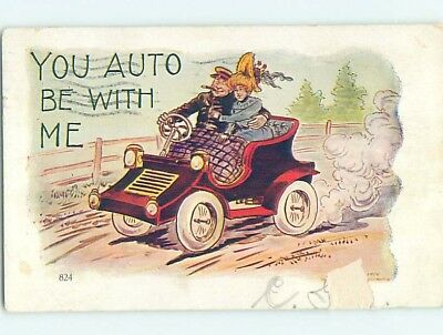 Damaged Pre-1907 YOU AUTO BE WITH ME - COUPLE IN VERY AUTOMOBILE CAR HL2037