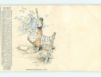 Pre-1907 WOMAN HANGS THE LAUNDRY IN SCHWARZWALD - BLACK FOREST OF GERMANY HL7286